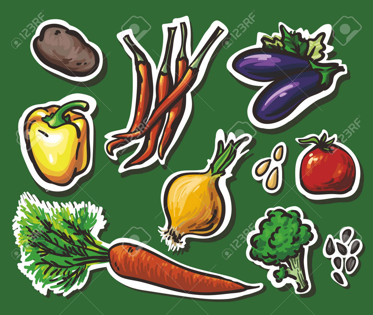 Set of 8 vegetables: potatoes, peppers, eggplant, onions, tomatoes, carrots, broccoli. white outline and shadow Stock Vector - 11308462