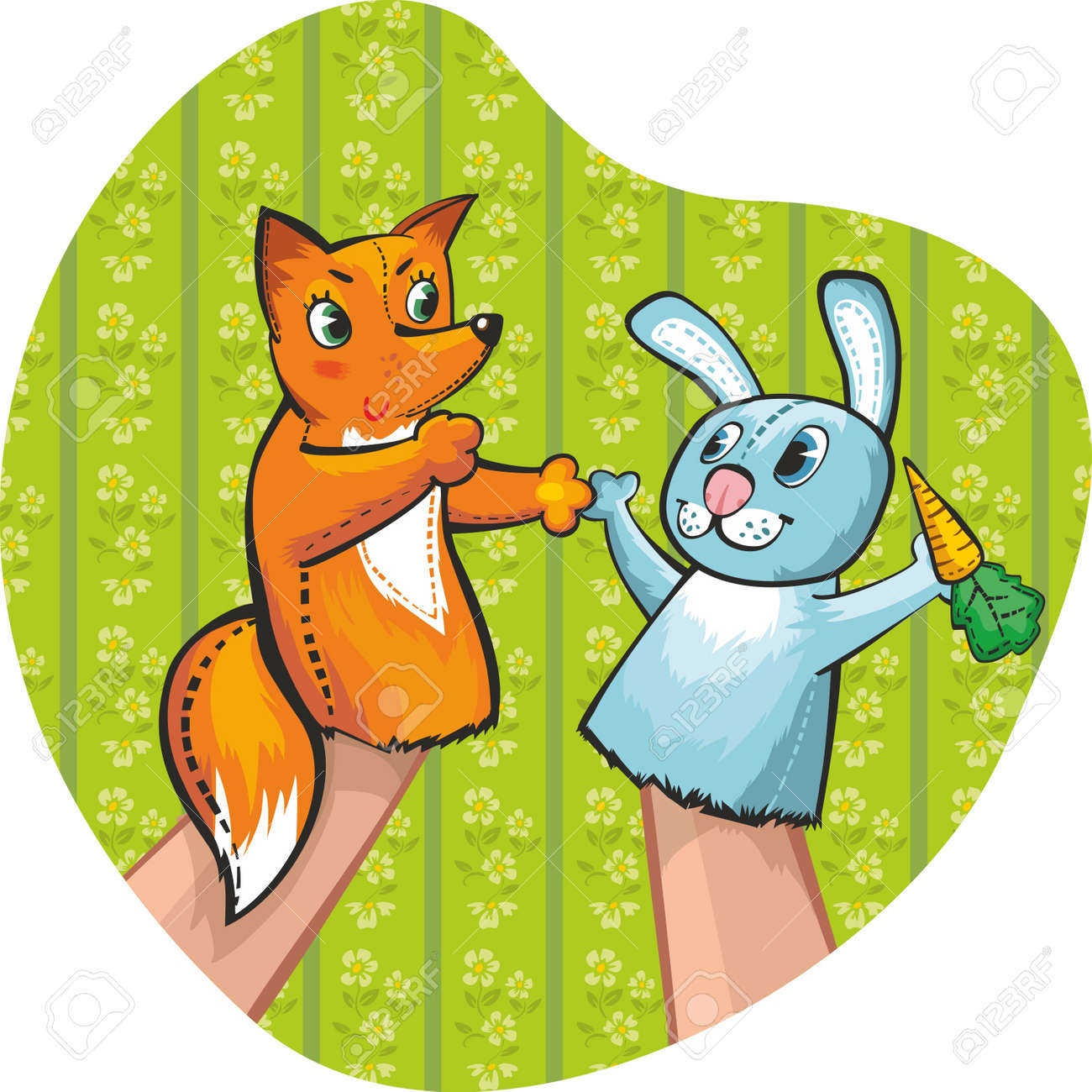 Puppet Theatre. Rabbit and fox Stock Vector - 11931820