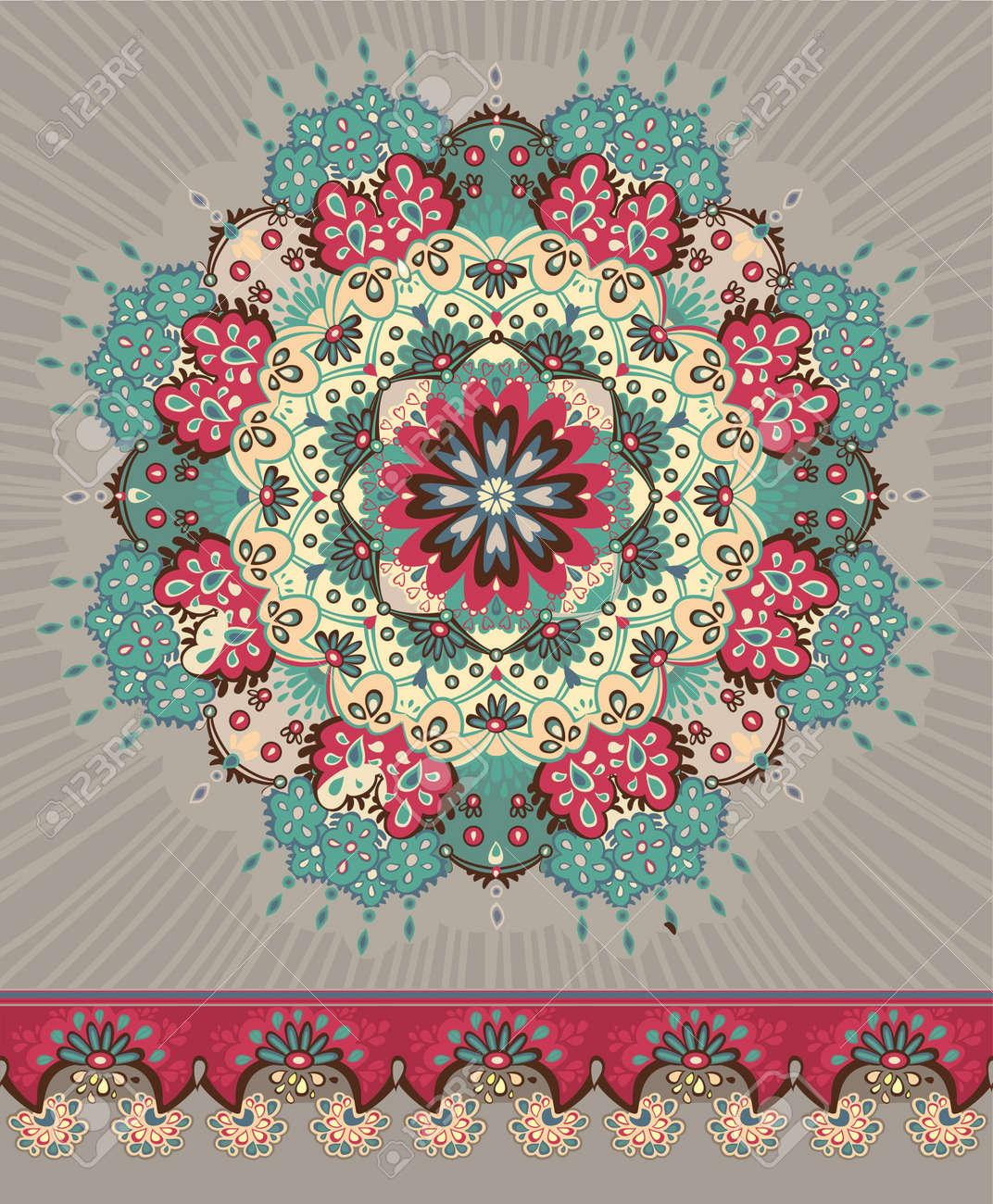 Illustration. Beautiful floral lace pattern. circle. - 12770087