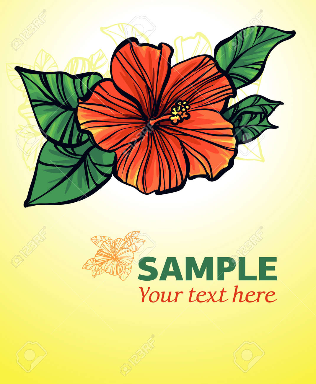 yellow background with red flower - 12933262