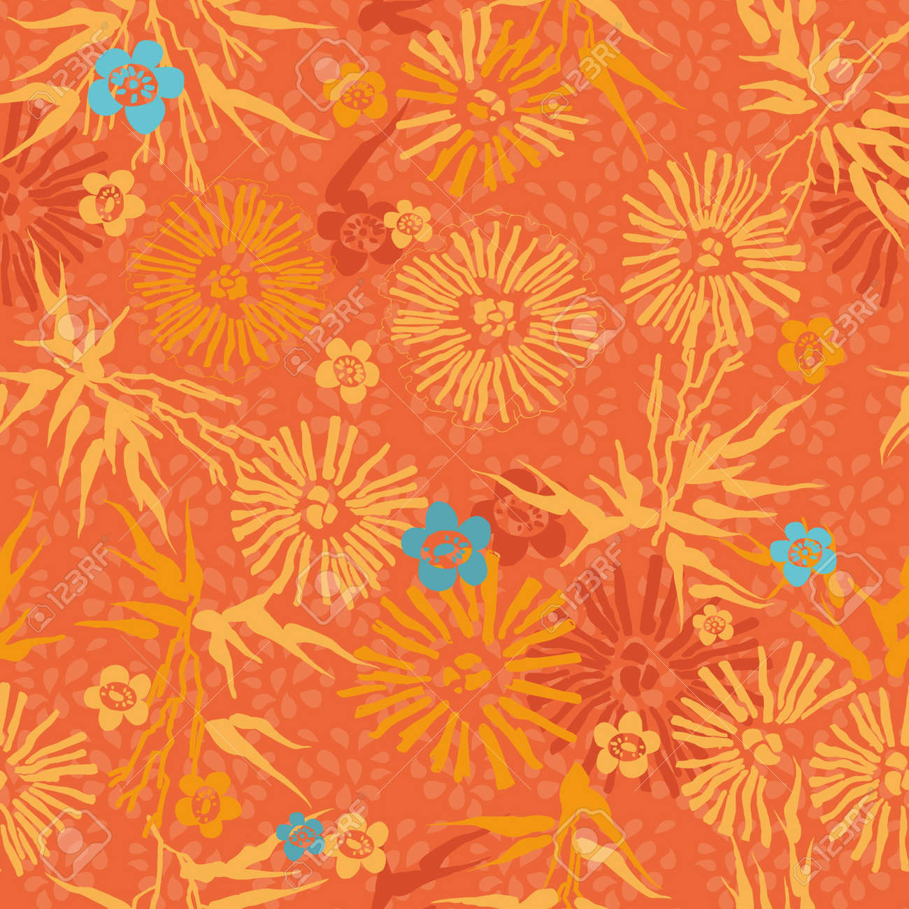 orange floral  Japanese pattern leaves, flowers and plants Stock Vector - 13220590