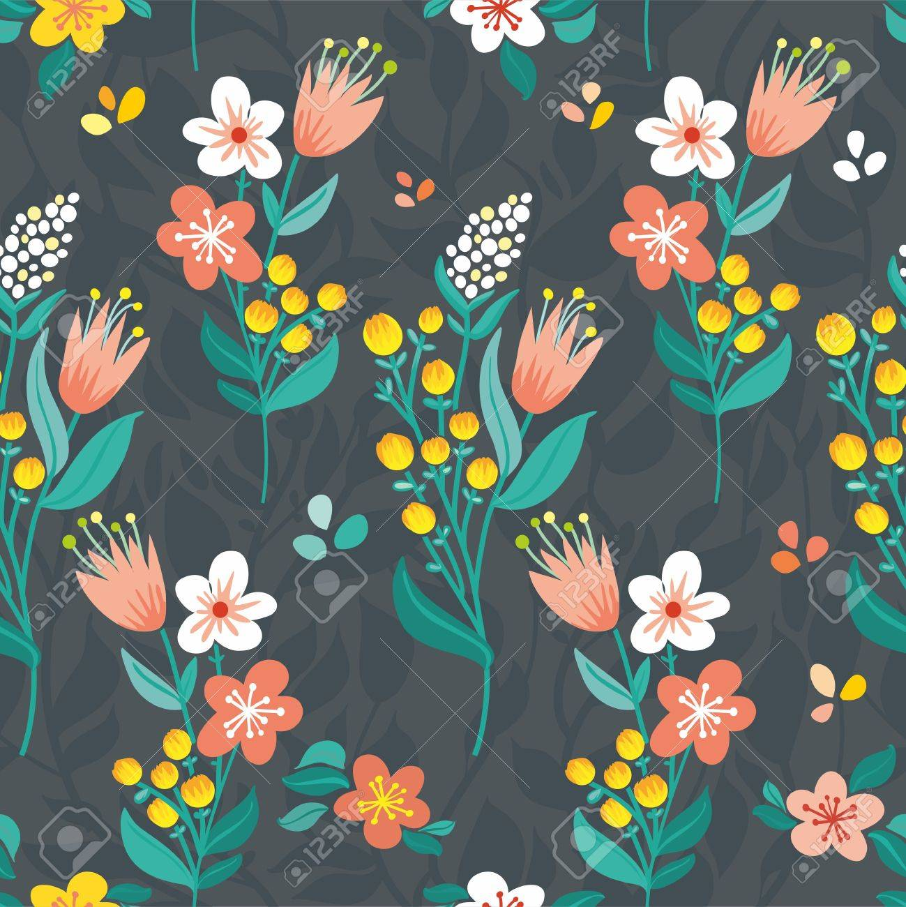 Beautiful stylized flowers, summer flowers blue background, bright flowers and leaves upright - 13275849
