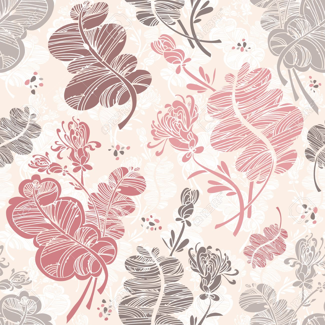 Line Floral Pattern Against Light Pink Background Royalty Free