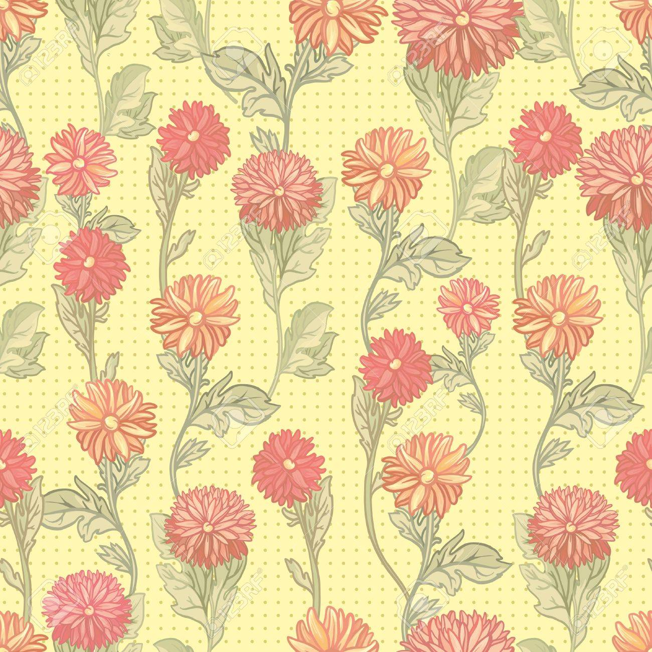 Seamless vector floral illustration. bright  chrysanthemum pattern Stock Vector - 13590997