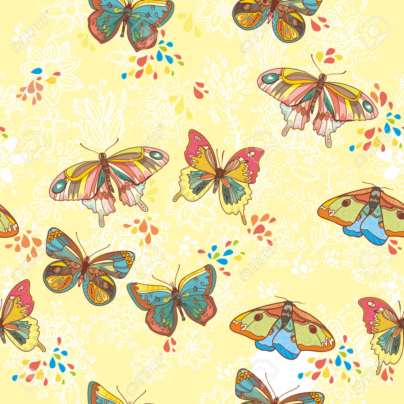 Seamless Wallpaper with floral ornament with leafs and butterfly for vintage design, Vector retro background - 13619945