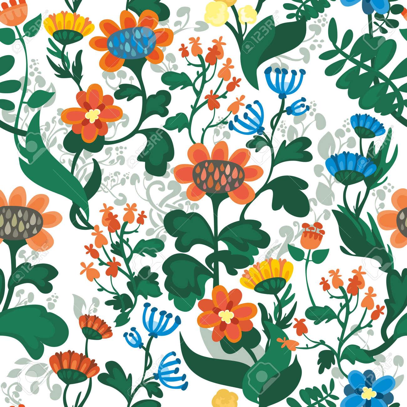Vettoriale Seamless Sfondo Floreale Con Fiori Stilizzati Floral