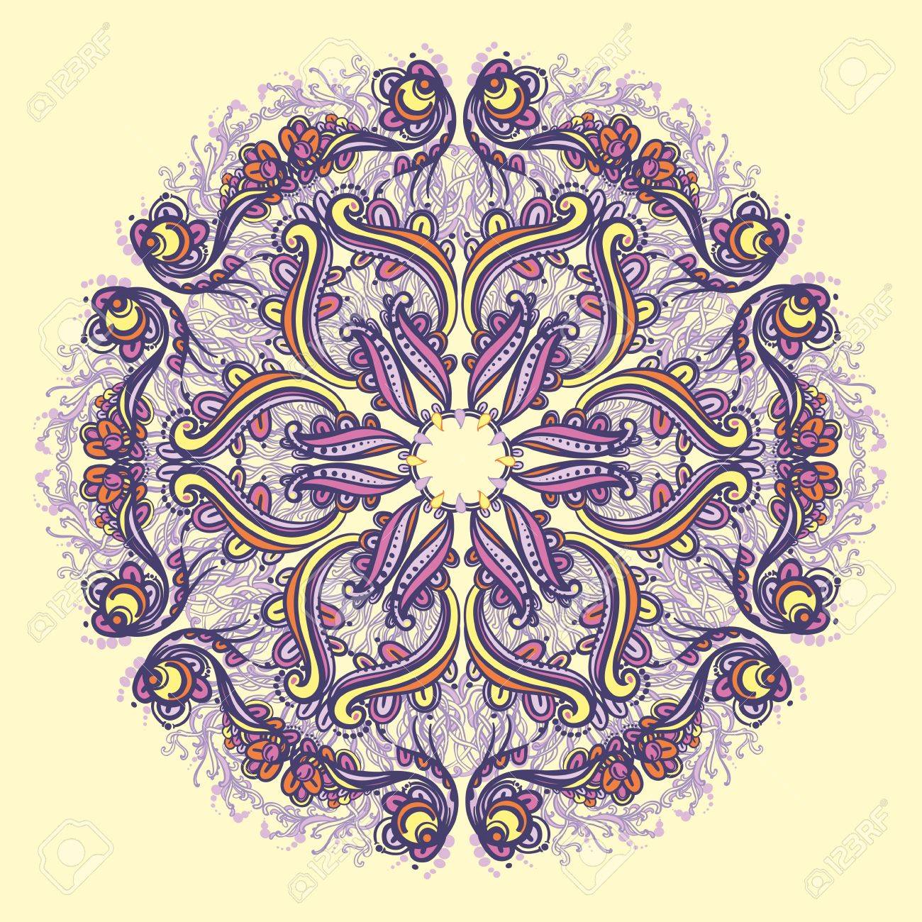 Ornamental round floral lace pattern  kaleidoscopic floral pattern, mandala Stock Vector - 14315525