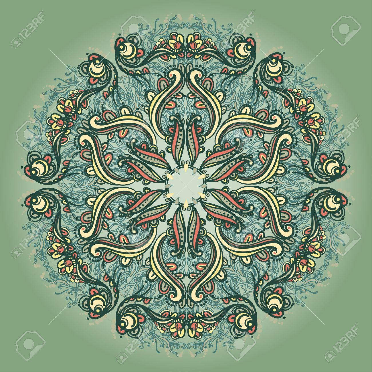 Ornamental round floral lace pattern kaleidoscopic floral pattern, mandala - 14315521