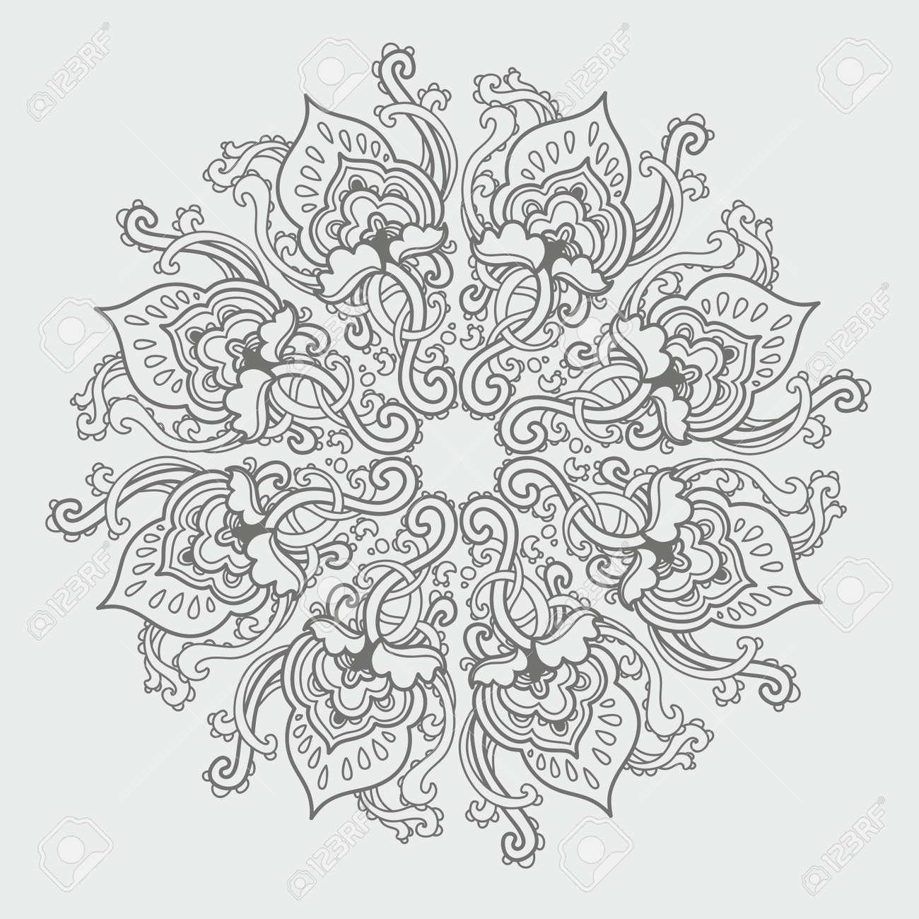 Ornamental round floral lace pattern. kaleidoscopic floral pattern, mandala. - 14778302