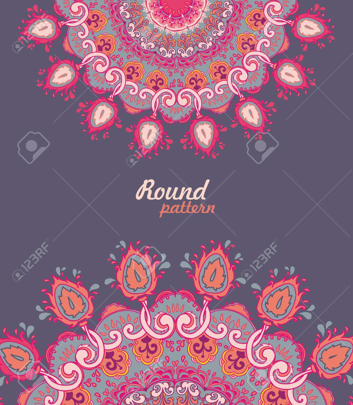 Ornamental round floral lace pattern. kaleidoscopic floral pattern, mandala. - 14959799