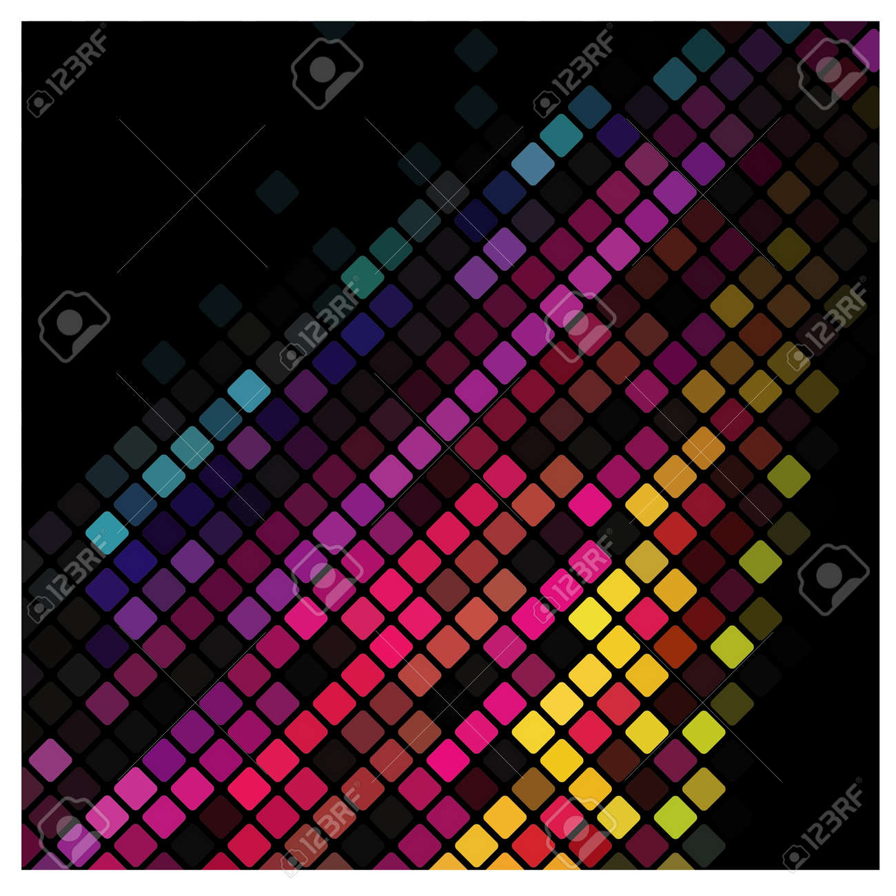 Abstract multicolor lights disco tile background. Stock Vector - 15600866