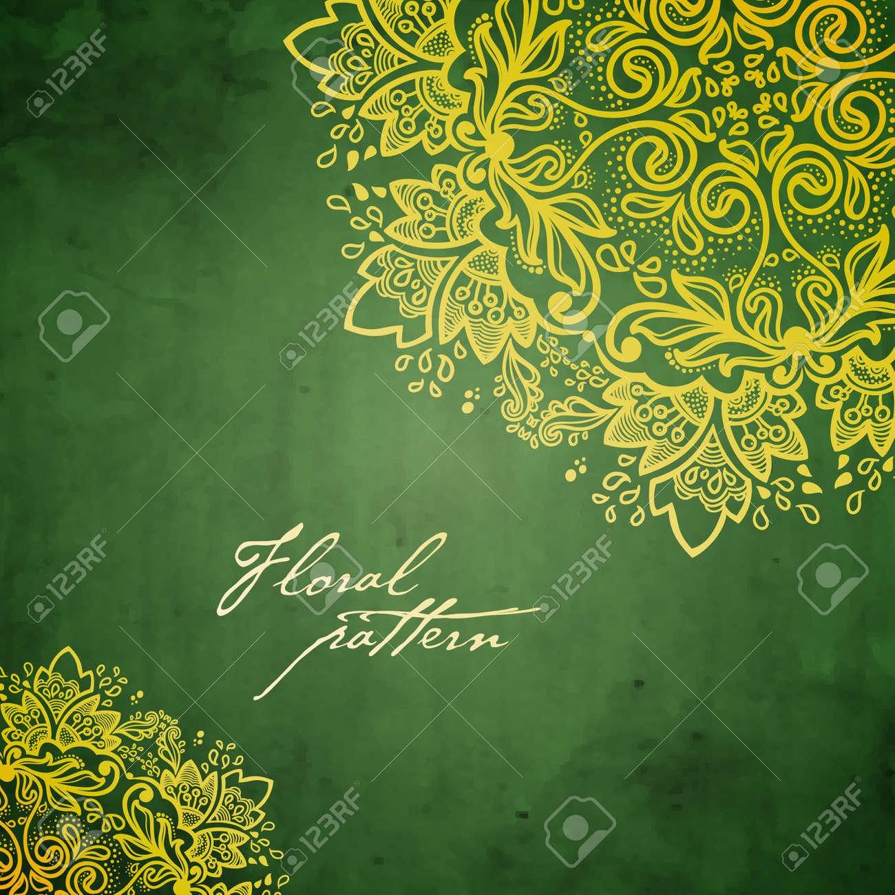 Ornamental round floral lace background kaleidoscopic floral pattern, mandala - 16983839