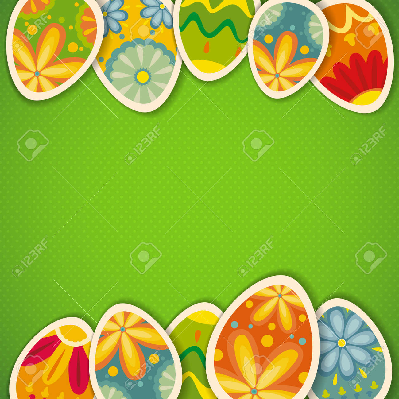 Happy Easter card template, colored eggs and polka dot pattern - 17993759
