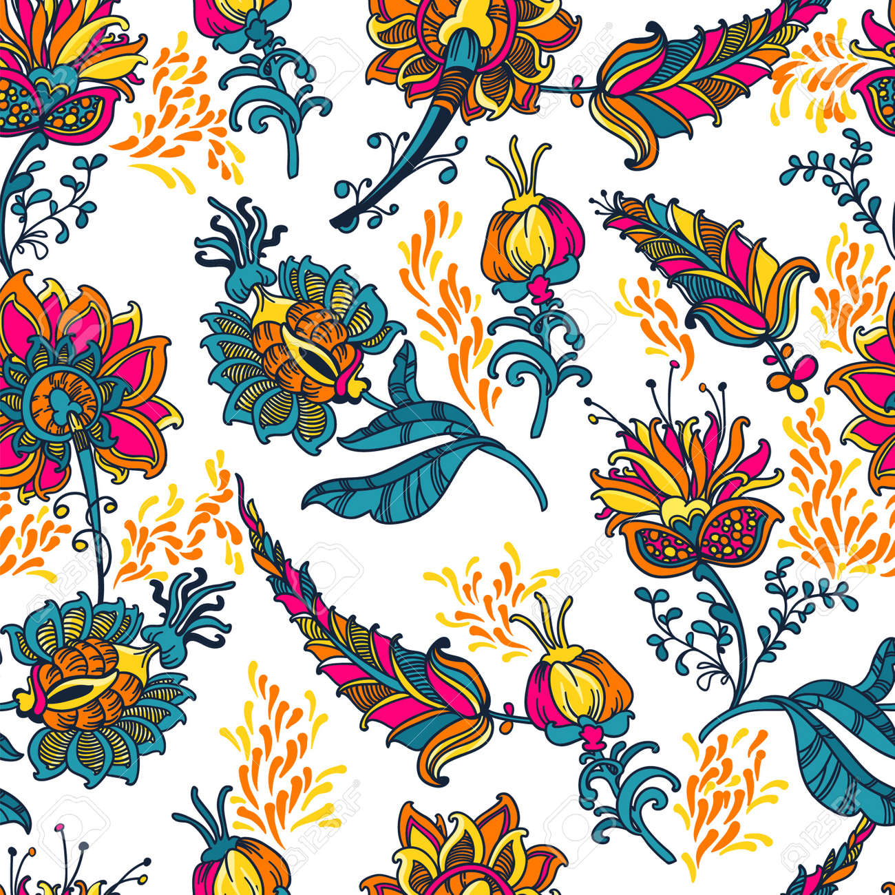 ornamental floral vector seamless background with many details - 18657338