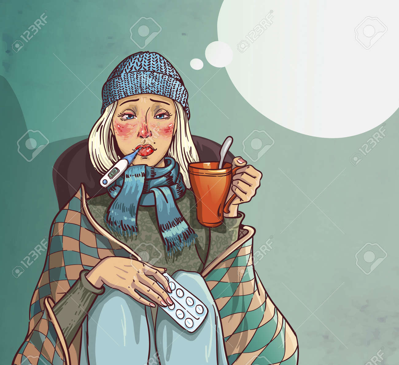 girl sick cold and sitting on a chair and holding a cup in her hands. - 18813818