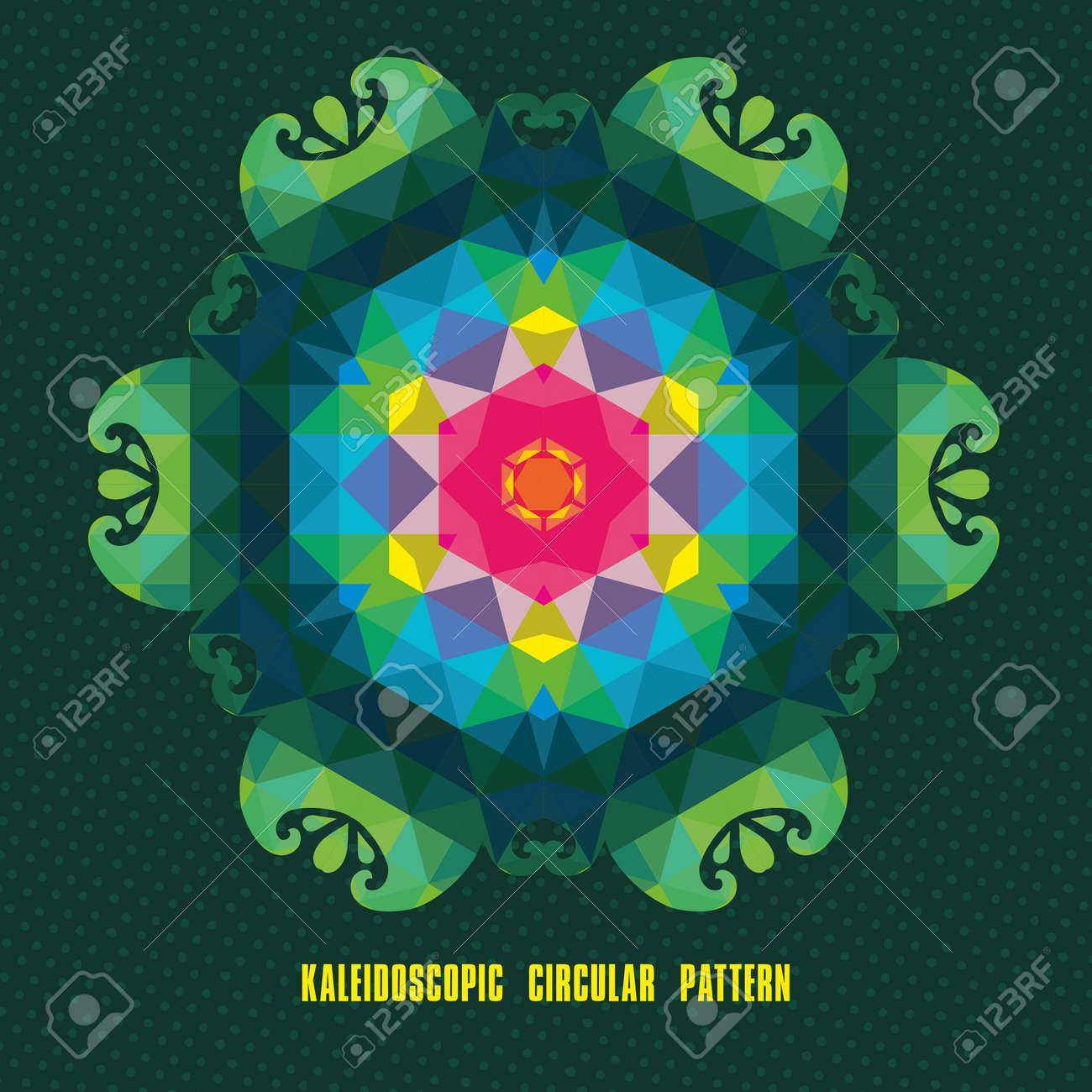Kaleidoscope geometric dark pattern. Abstract background Stock Vector - 18969300