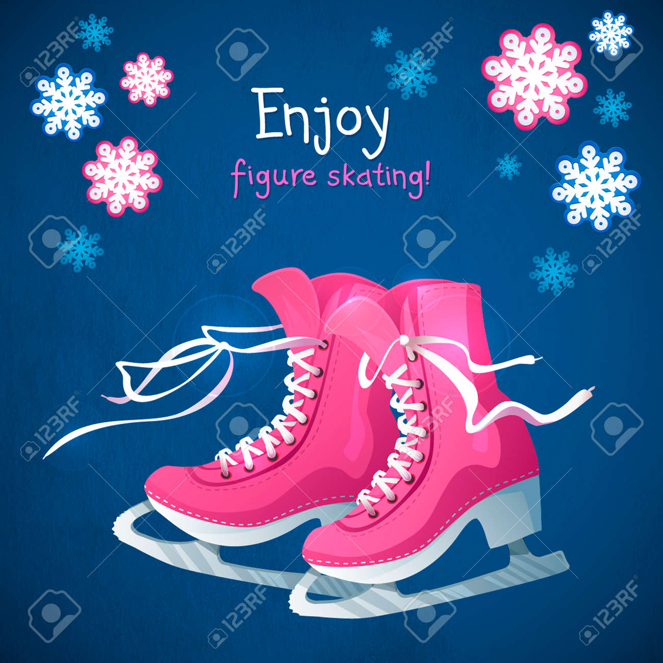 Retro Christmas card with ice skates. Blue grunge winter background with snow flakes and skate boots. - 23192232