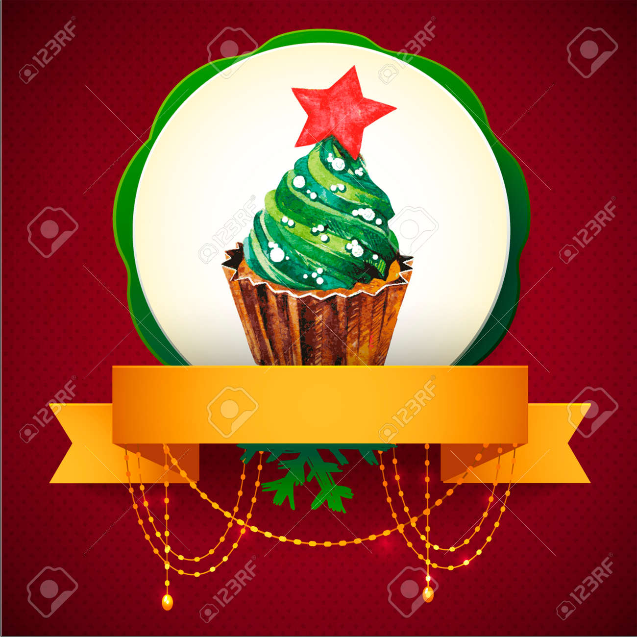 Cupcake with holly berry  Vector Watercolor illustration  Traditional yummy Christmas dessert Stock Vector - 24025966