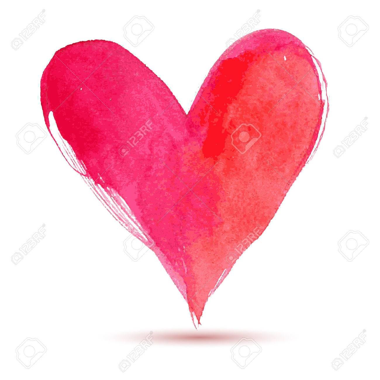 happy valentine day watercolor painted heart vector element rh 123rf com heart vector free eps heart vector freepik