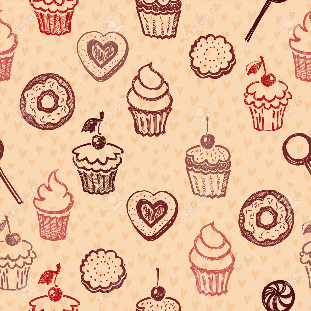 Seamless texture sweets, donut, biscuit on the background of polka dots - 25117934