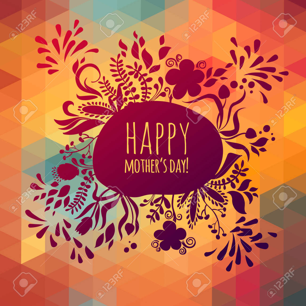 Happy Greeting Mothers Day Spring Card Floral Illustration For And Birthday Stock Vector