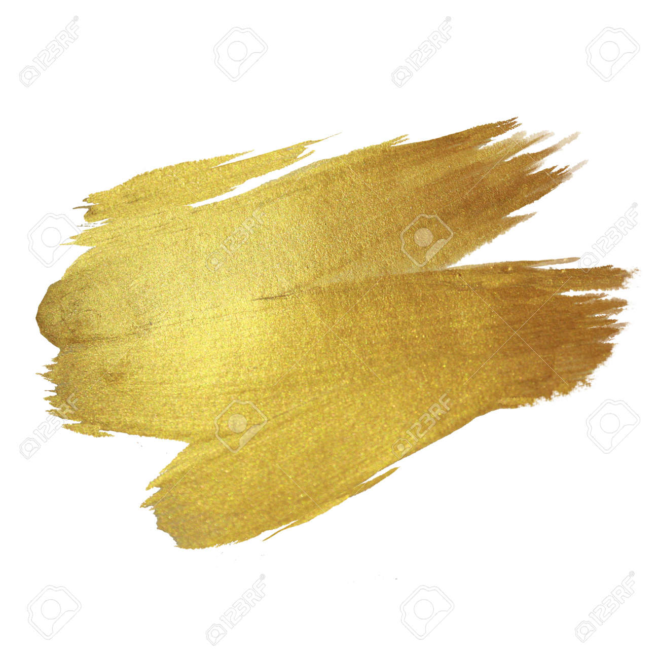 Gold Shining Paint Stain Hand Drawn Illustration - 43555963