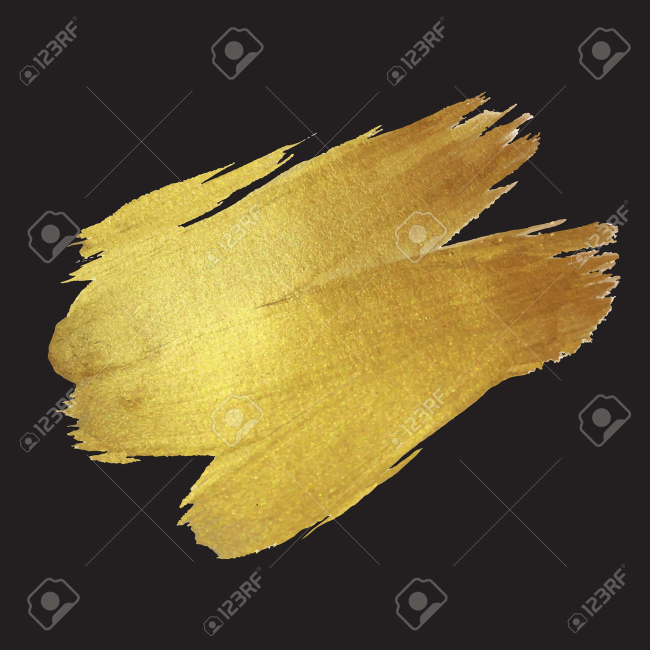 Gold Shining Paint Stain Hand Drawn Illustration - 43577466