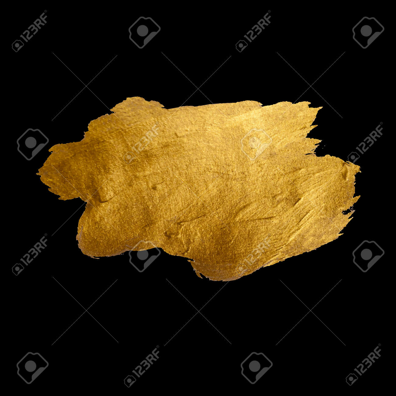 Gold Shining Paint Stain Hand Drawn Illustration - 43577472
