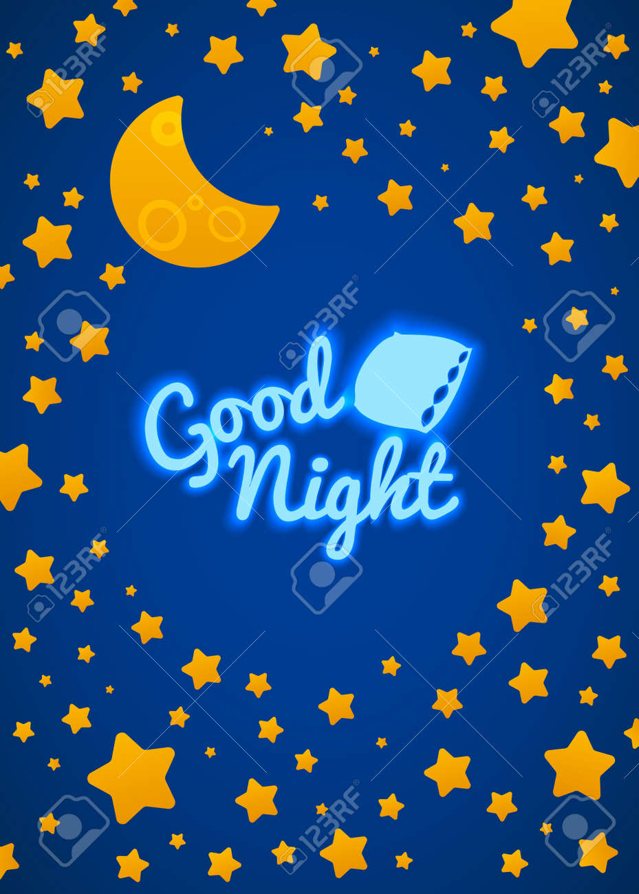 Kids at night with moon royalty free stock photography image - Good Night Bed Time Illustration For Children Stars Moon Pillow And Inscription Stock