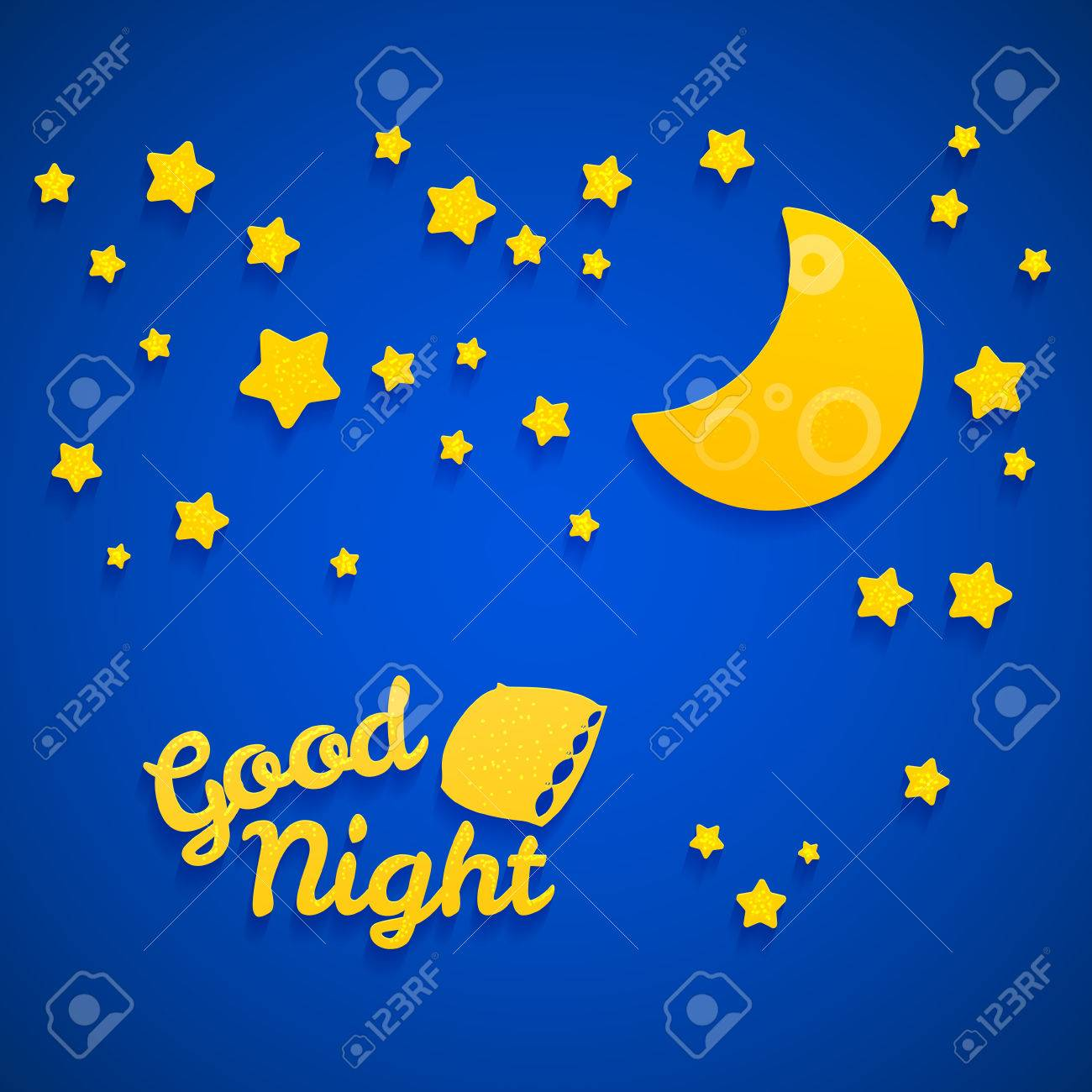 Kids at night with moon royalty free stock photography image - Good Night Bed Time Illustration For Children Stars Moon Pillow And Inscription