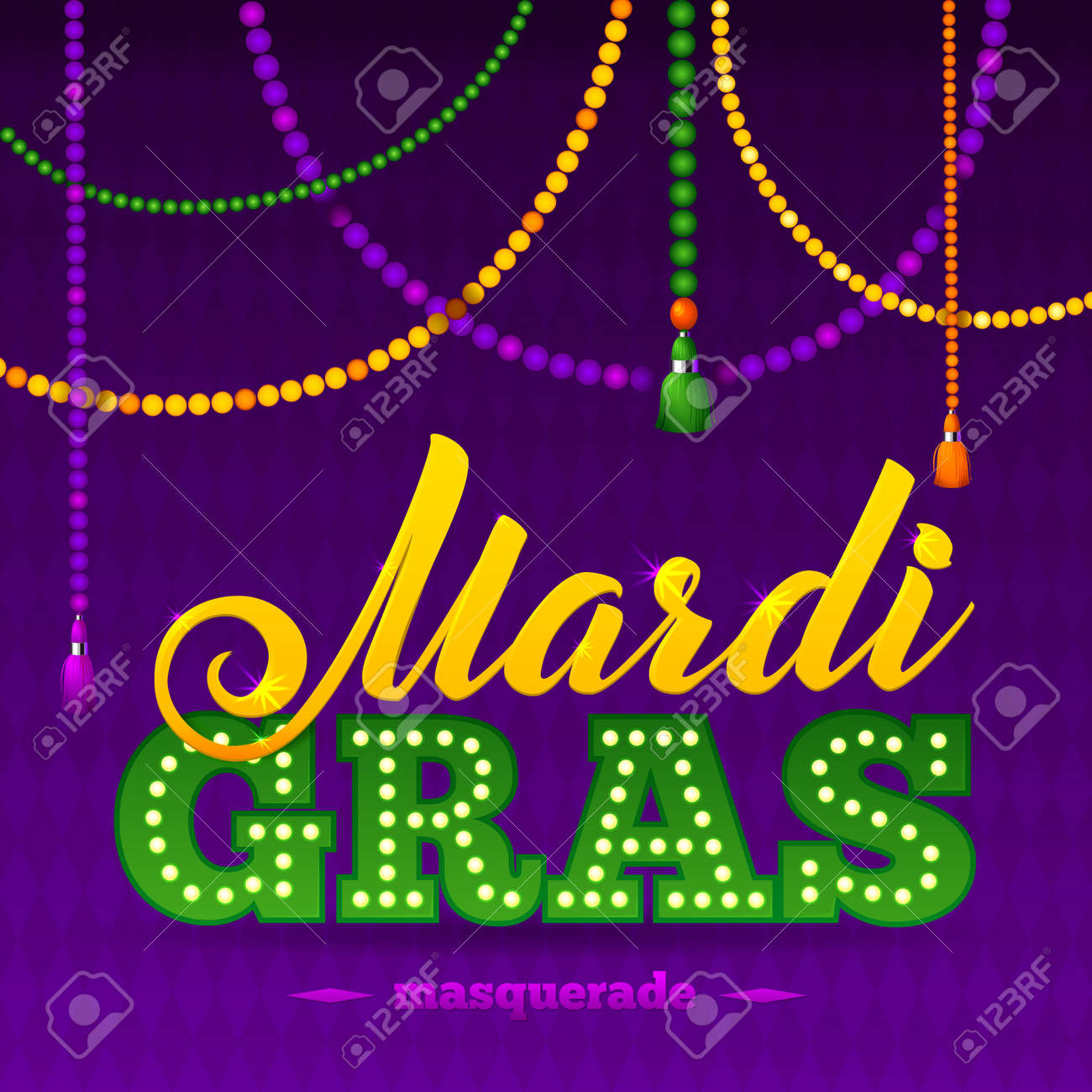 Mardi Gras Party Poster. Calligraphy and Typography Card. Beads Tassels and Fleur De Lis Symbol. Holiday poster or placard template - 50559589