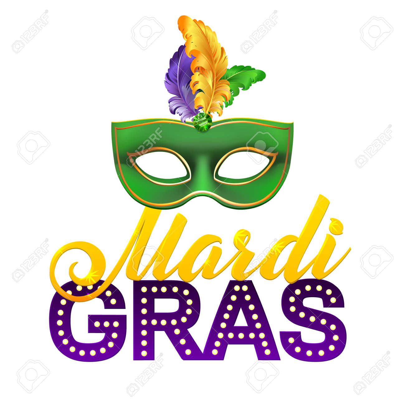 Mardi Gras Party Mask Poster. Calligraphy and Typography Card. Lights and Feathers. Holiday poster or placard template - 50559594