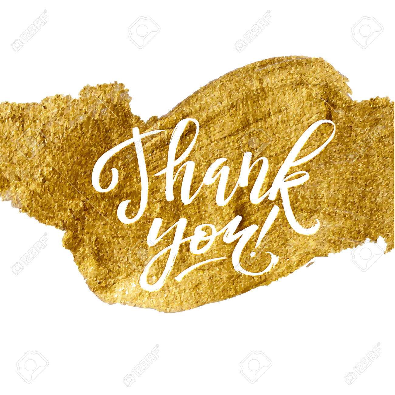 Shine Gold Foil Thank You Card  Calligraphy on White Background