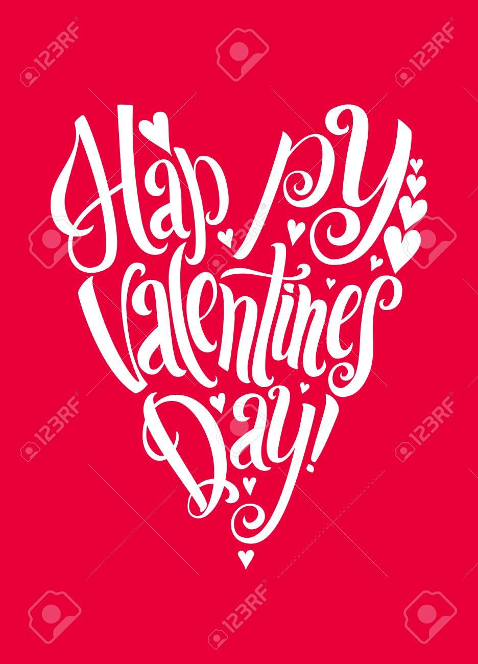 Feliz Día De San Valentín De Letras De Forma De Corazón