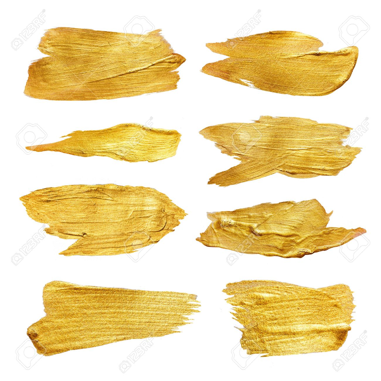 Gold Foil Watercolor Texture Paint Stain Abstract Illustration Set. Yellow shining brush stroke for you amazing design project. - 54416552