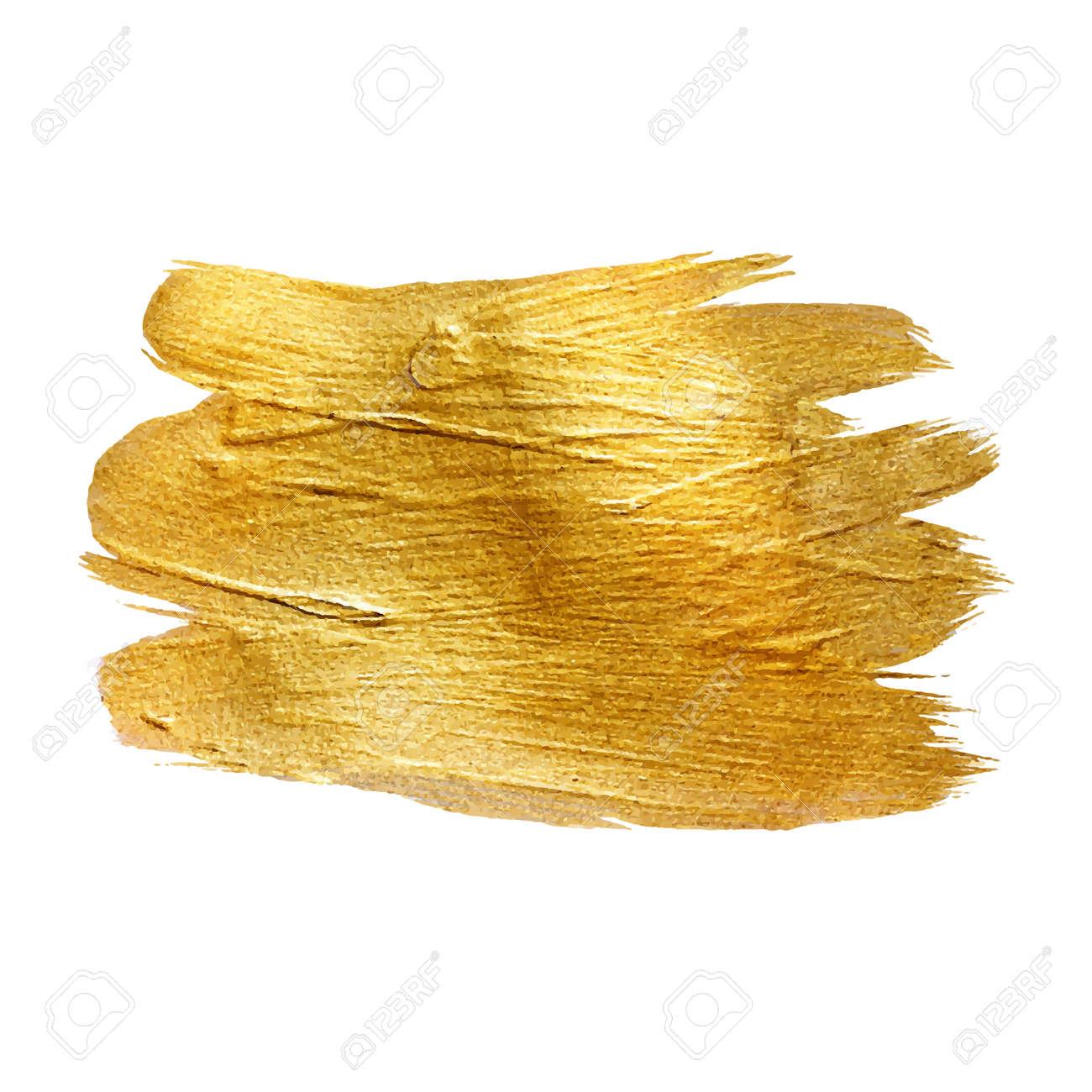 Gold Metal Foil Glitter Brush Stroke. Golden Stroke Vector Design Illustration. Foil Shiny template. Pearl Gloss Design. Watercolor Metallic Paint Texture - 54827170