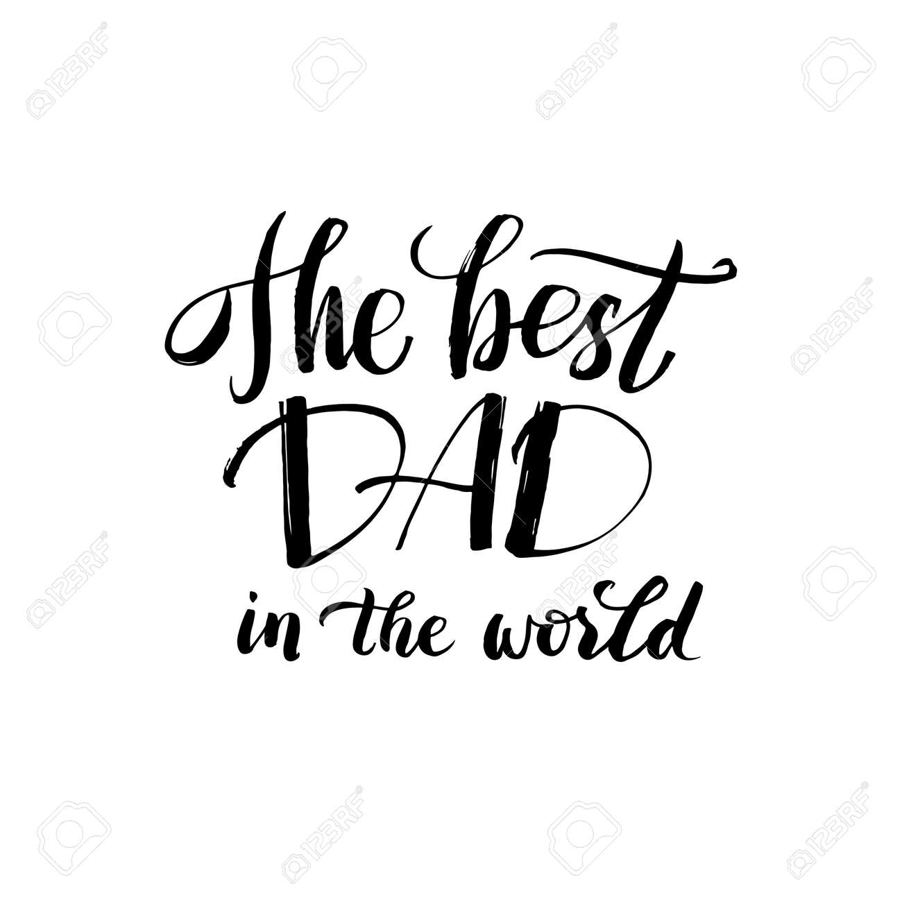 Hapy Fathers Day Black Greting Card Ink Inscription Greeting Template For Father