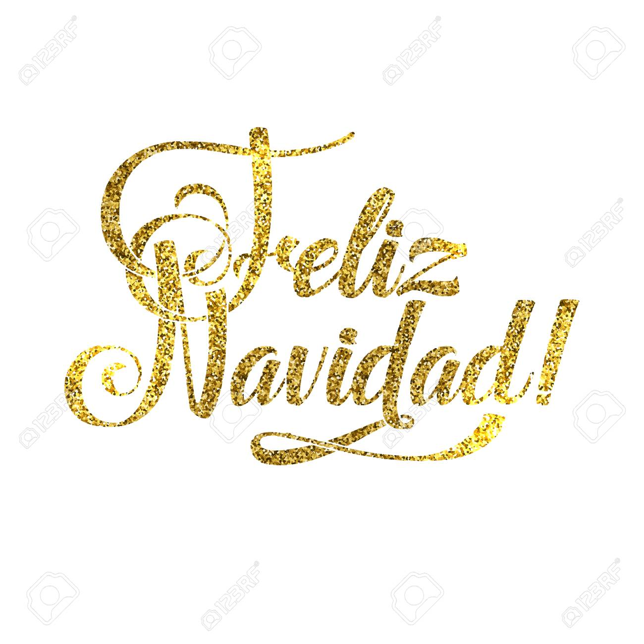 Gold Spanish Merry Christmas Card. Golden Shiny Glitter. Calligraphy ...