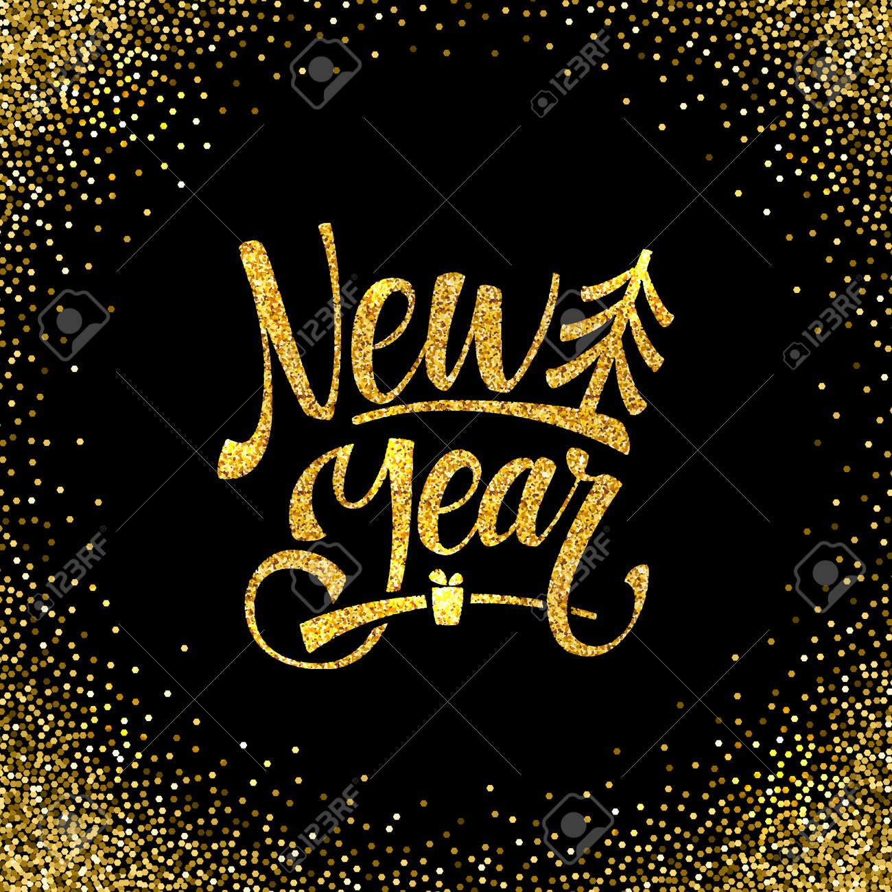 Gold-Happy New Year Card. Goldenes Glänzendes Glitter. Kalligraphie ...