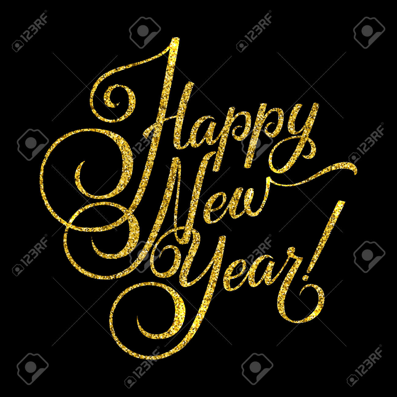 gold happy new year card golden shiny glitter calligraphy greeting poster tamplate black
