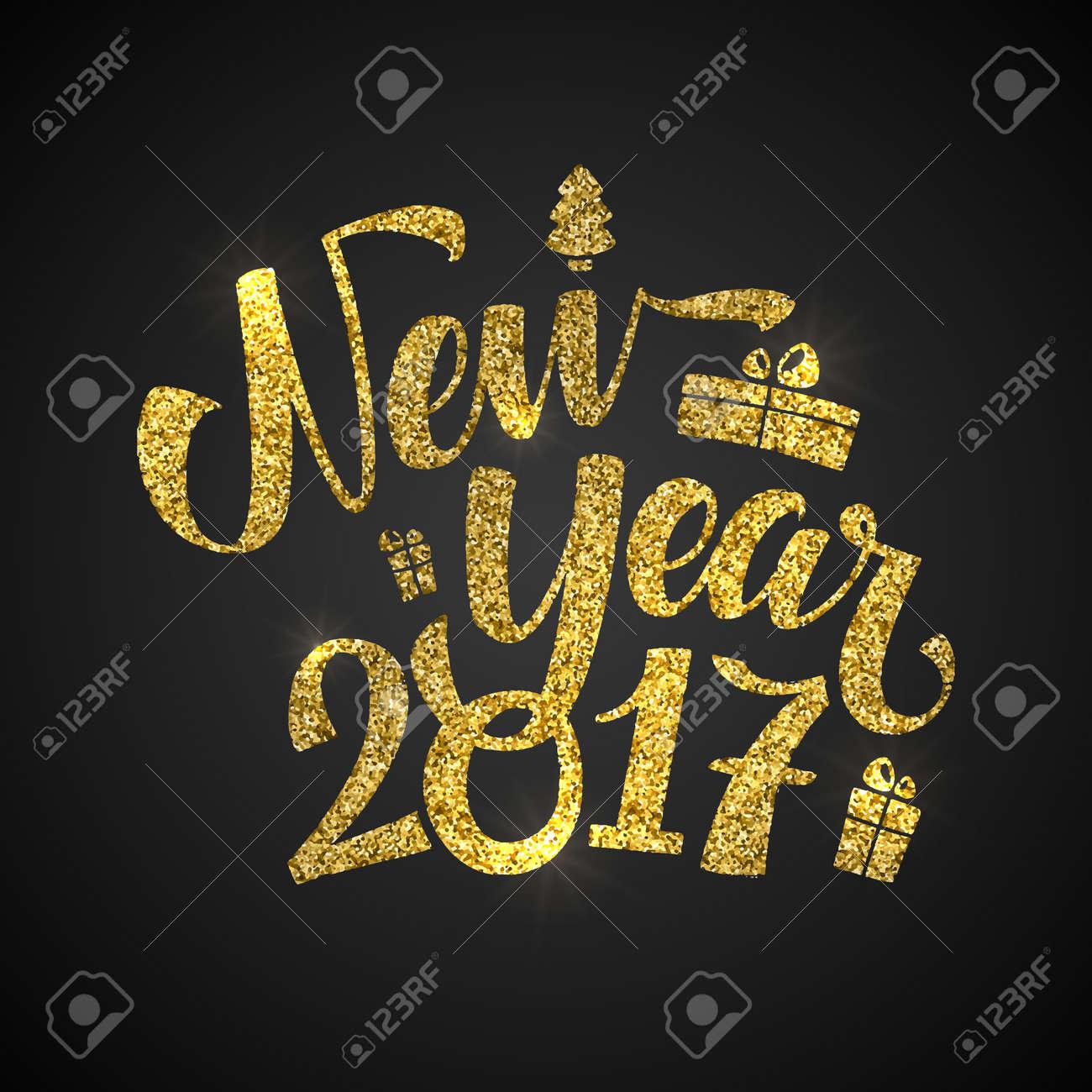 Gold Guten Rutsch Ins Neue Jahr-Karte. Goldener Glänzender Glitter ...
