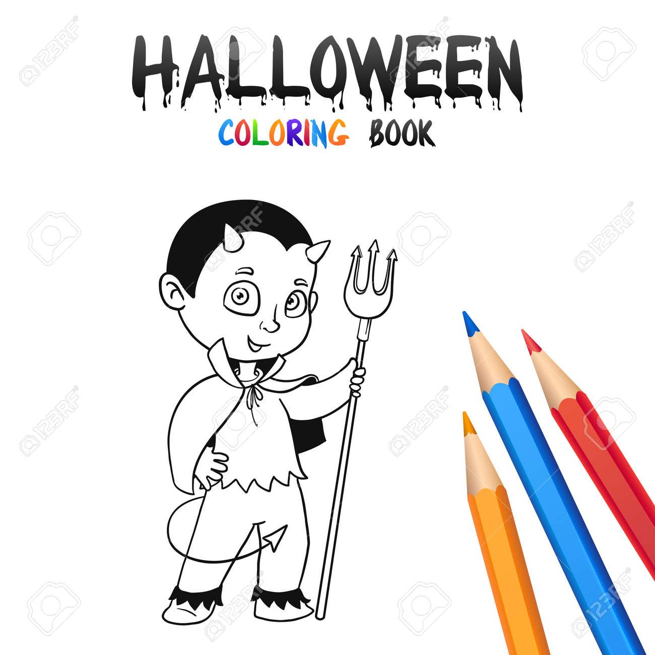 Diablo Bebé Alegre Con La Cola. Halloween Para Colorear Book ...