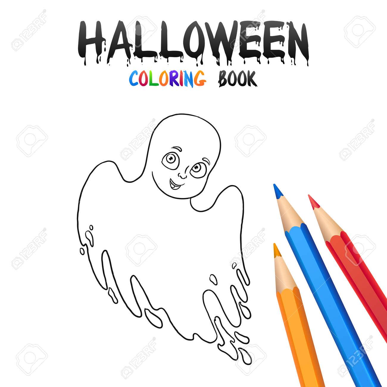 cheerful boy in halloween costume ghost halloween coloring book illustration for children vector cartoon