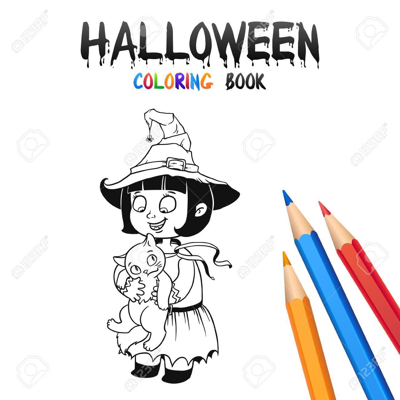 Petite Sorcière Dans Le Chapeau Halloween Livre à Colorier Illustration Pour Enfants Vecteur Personnage De Dessin Animé Isolé Sur Fond Blanc