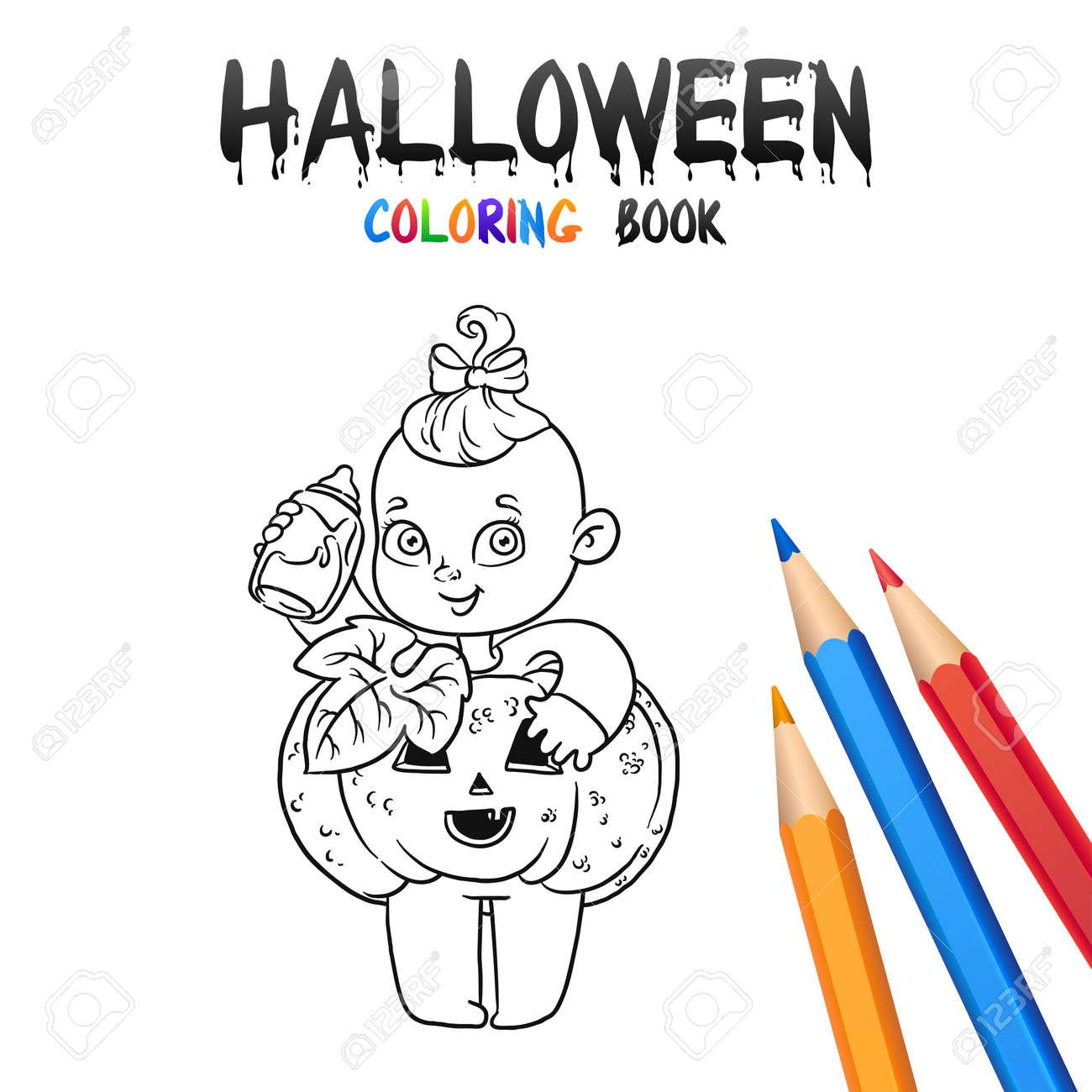 ハロウィン カボチャで陽気な女の子ハロウィーン塗り絵白い背景で