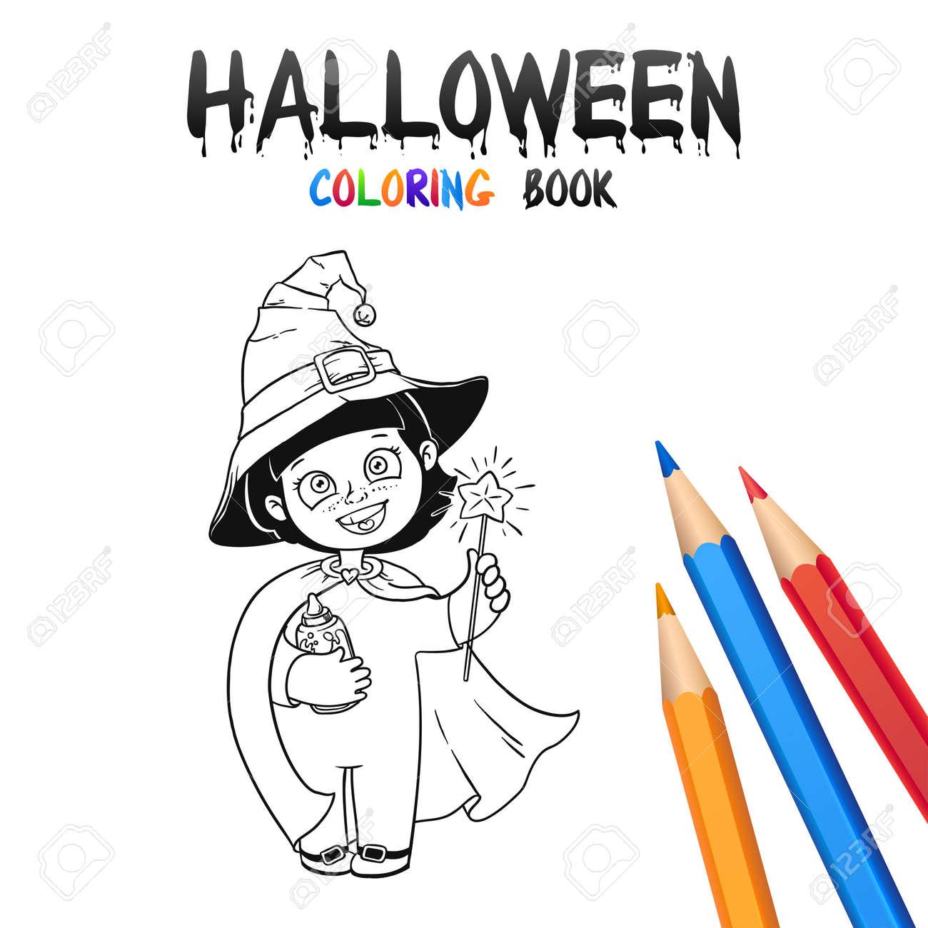 Petite Sorciere En Costume D Halloween Et Chapeau Livre De Coloriage D Halloween Illustration Pour Les Enfants Vector Personnage De Dessin Anime
