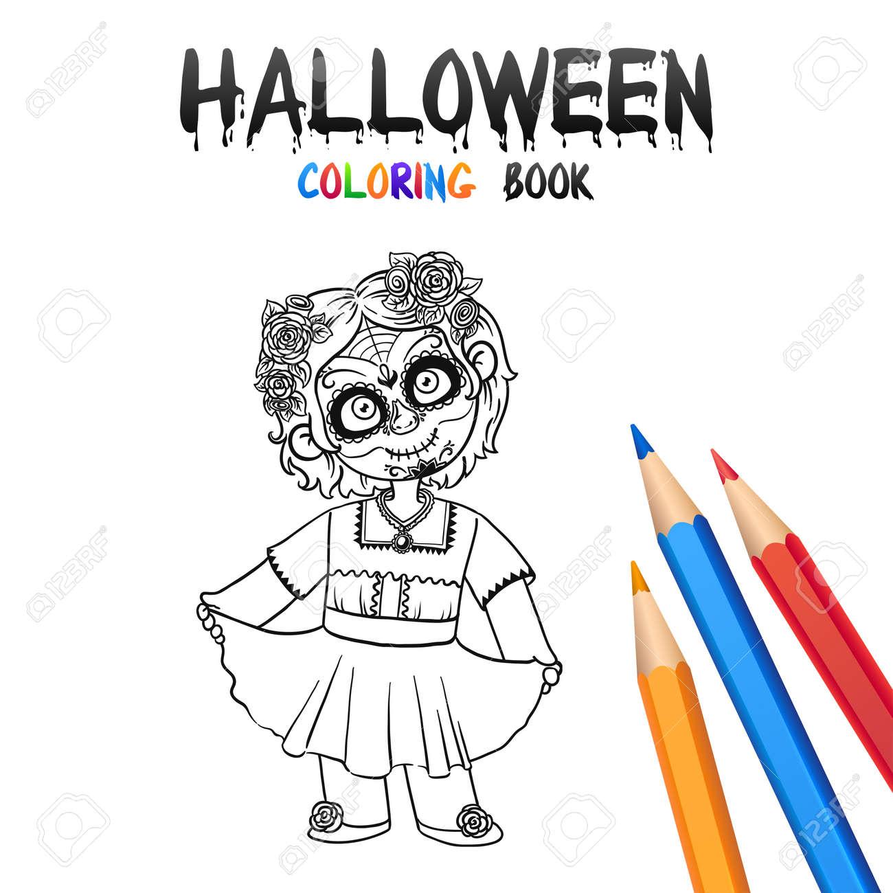 Muchacha Alegre En El Traje De Halloween Cráneo Muerto De La