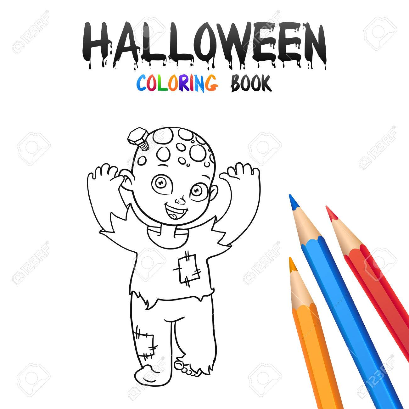 Cheerful Boy In Halloween Costume Zombie Coloring Book Illustration For Children Vector Cartoon