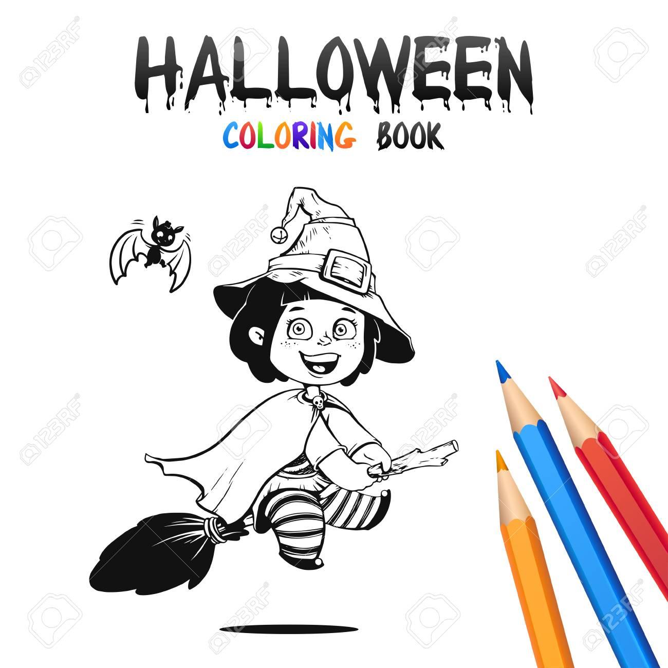 Petite Sorciere Au Chapeau Sur Broomsick Livre De Coloriage D Halloween Illustration Pour Enfants Vector Personnage De Dessin Anime Isole Sur Fond