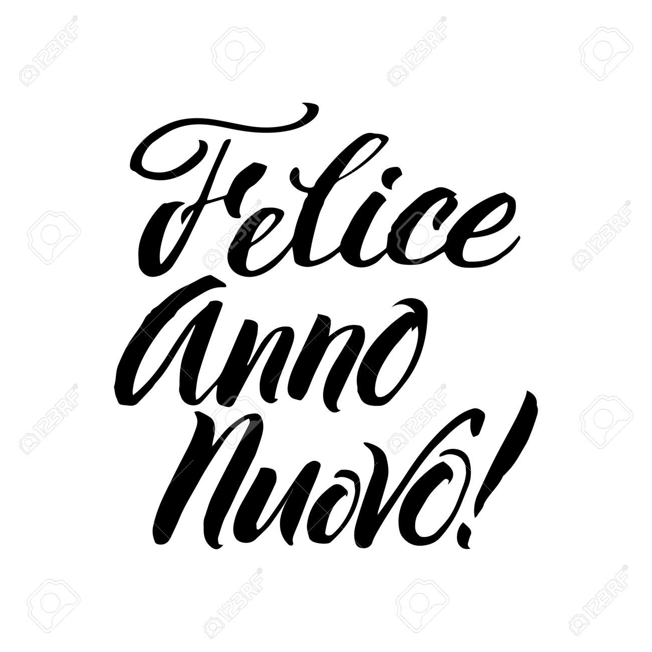 happy new year stroke italian calligraphy greeting card black typography on white background stock
